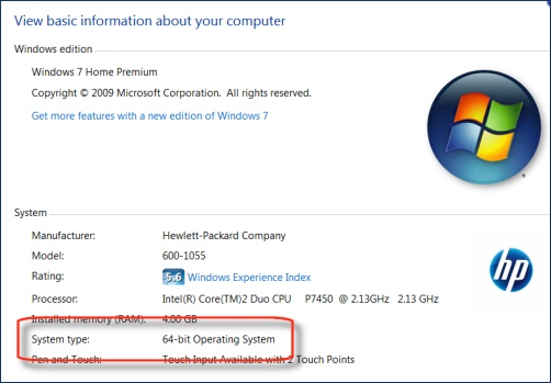 Find 32-bit or 64-bit system type in Windows 7 and Vista